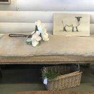 Antique burlap bench